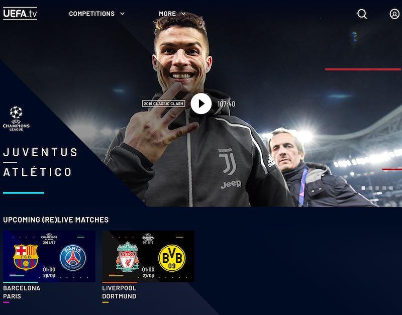 【完全無料】UEFA.tvで欧州サッカー名試合を毎日フルマッチ再放送!TV対応アプリもリリースのアイキャッチ画像